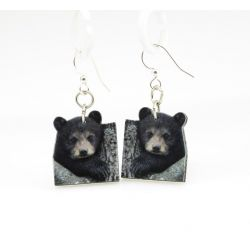 bear cub wood earrings