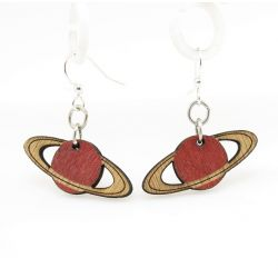 red planet wood earrings