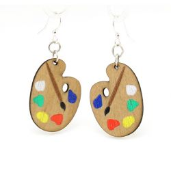 painter palette wood earrings