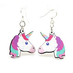 unicorn wood earrings