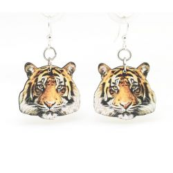 detailed tiger wood earrings
