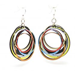 circle array wood earrings