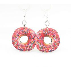 doughnut wood earrings