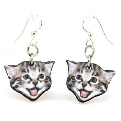 playful kitten wood earrings
