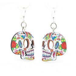 profile sugar skull wood earrings