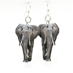 African elephant wood earrings