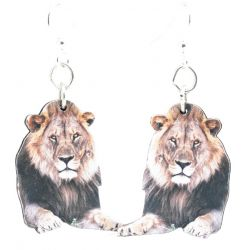 Mufasa Lion Wood Earrings