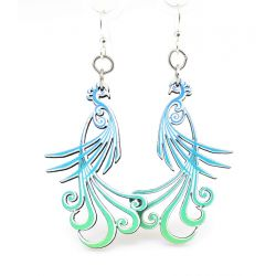 flowing peacock wood earrings