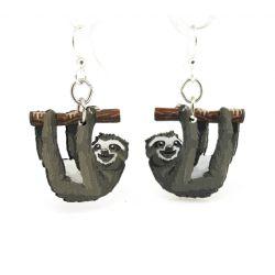 sloth wood earrings