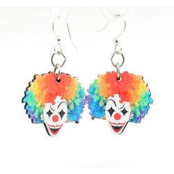 clown wood earrings