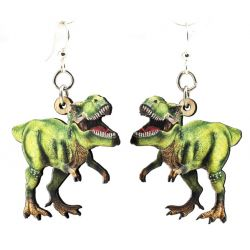 t-rex wood earrings