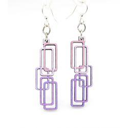 Rectangled wood earrings