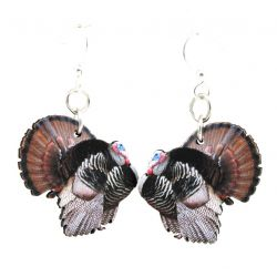 wild turkey wood earrings
