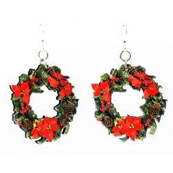large christmas wreath wood earrings