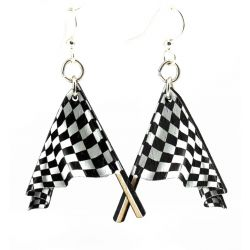 racing flag wood earrings