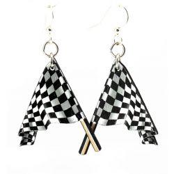 racing flag wood earrings