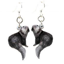river otter wood earrings