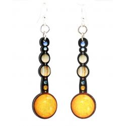solar system wood earrings