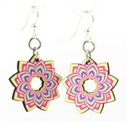 briliant mandala flower wood earrings