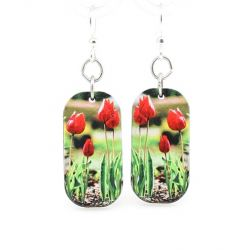 tulip blossom wood earrings
