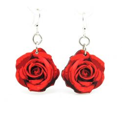 deep red rose blossom wood earrings