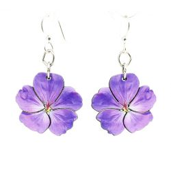 violet flower wood earrings