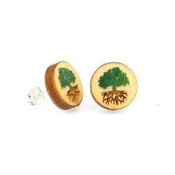 Green tree stud wood earrings