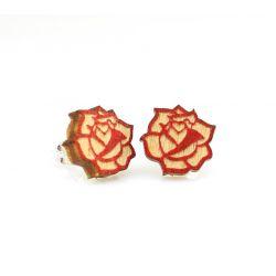 Rose stud wood earring