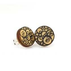 Circle in circles stud wood earrings