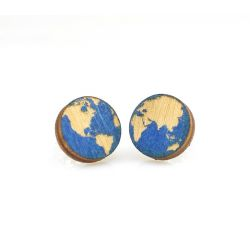 Globe stud wood earrings