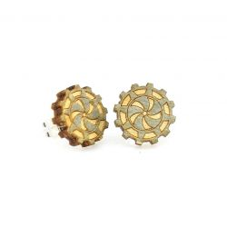 gear stud wood earrings