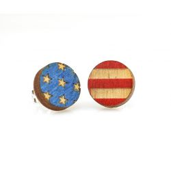 USA Flag stud wood earrings