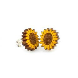 sunflower stud wood earrings