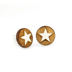 Western Star Stud Wood Earrings