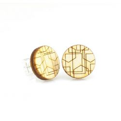 Geometric lines stud wood earrings