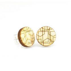 Geometric lines stud wood earrings