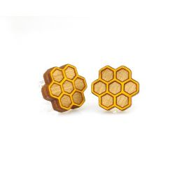 honeycomb stud wood earrings