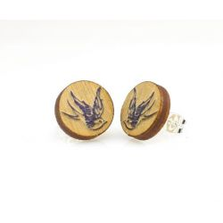sparrow stud wood earrings