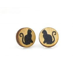 Cat stud wood earrings