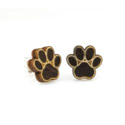 Puppy paw stud wood earrings