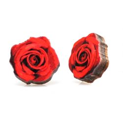 Deep red rose stud wood earrings