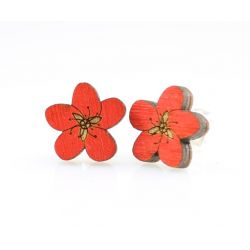 Cherry blossom stud wood earrings