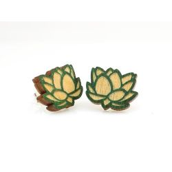 Lotus stud wood earrings