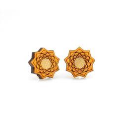vector flower stud wood earrings