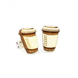 coffee stud wood earrings