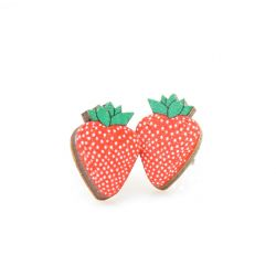 strawberry stud wood earrings