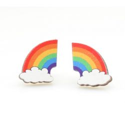 rainbow stud wood earrings