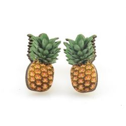 pineapple stud wood earrings