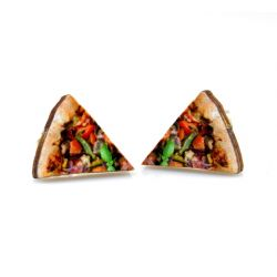 pizza stud wood earrings
