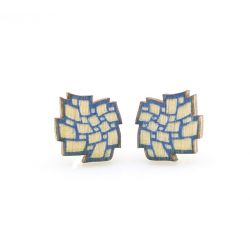 cloud stud wood earrings